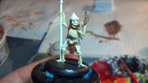 Ral Partha skeleton miniature WIP. Click to Enlarge.