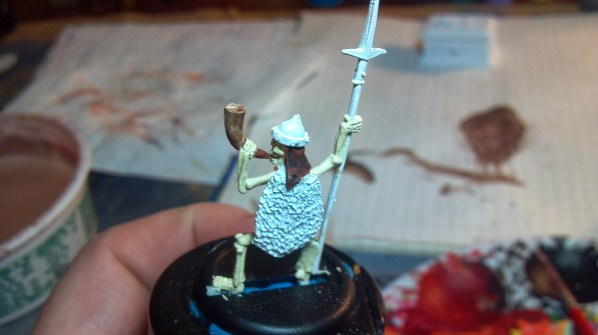 Ral Partha skeleton miniature WIP. Click to Enlarge.