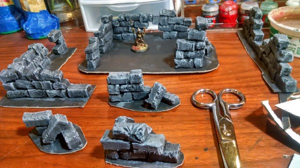 Battle Mat friendly game terrain pieces with trimmed bases. Click to Enlarge.