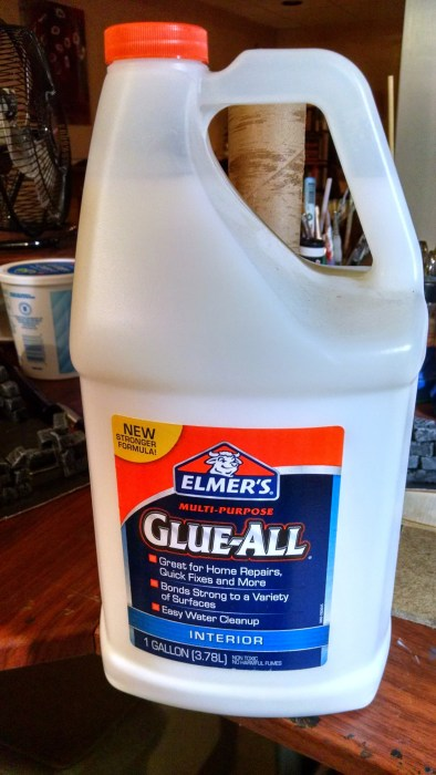 Elmer's White PVA Glue gallon jug. Click to Enlarge.