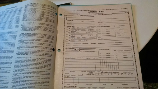Original AD&D Character Sheet. Click to Enlarge.