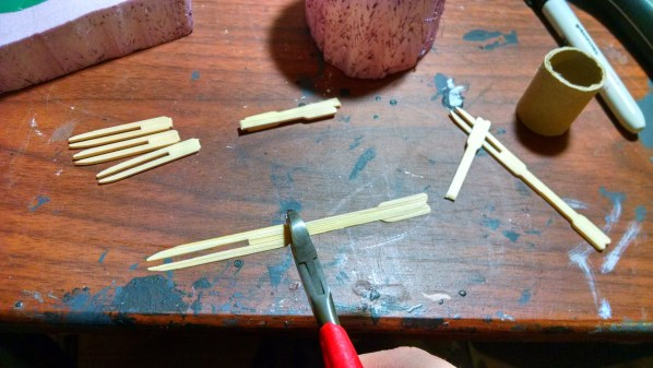 Cutting Bamboo Forks for Spikes. Click to Enlarge.