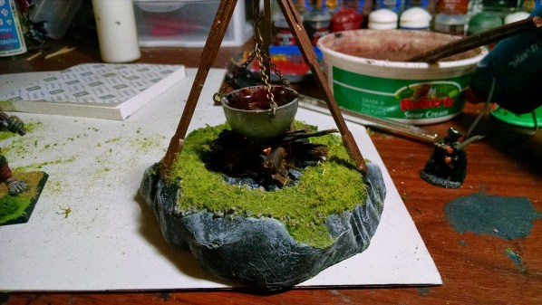 The Cauldron piece almost complete, turf/flocking added. Click to Enlarge.