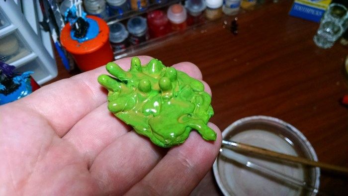 Green Slime Sculpt Prototype Painted. Click to Enlarge.