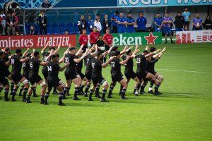 NZ rugby team is showing Haka dance