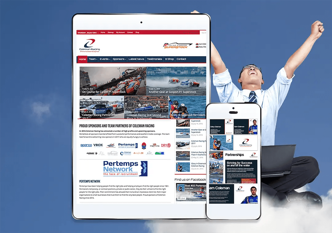 Coleman Racing web project and creative graphic design