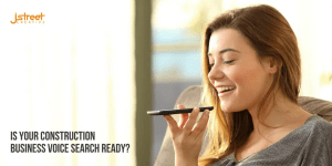 Construction business voice search header image featuring woman speaking into her phone