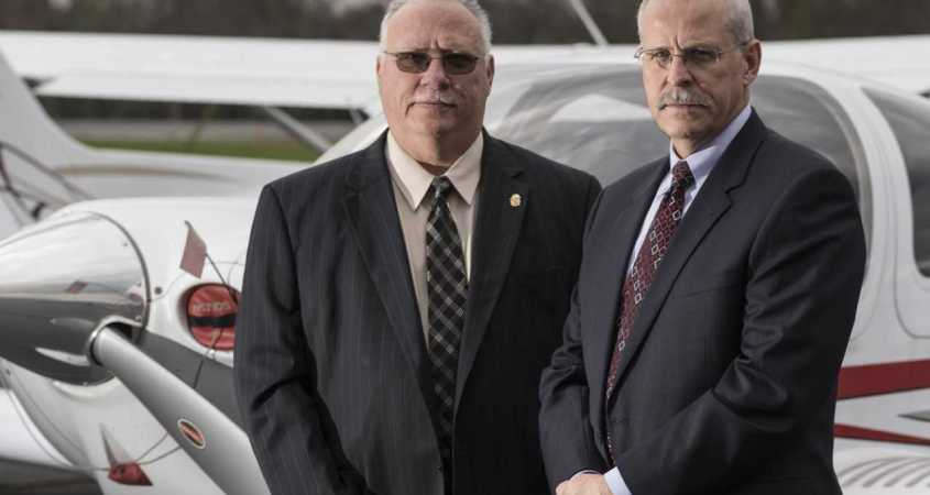 Former DEA agents Javier Peña, pictured left and Stephen Murphy, pictured right, visited the campus of Jacksonville State University on Monday, November 18 to discuss their experience in the DEA investigation of Pablo Escobar's drug cartel. (Courtesy of Spire Magazine)