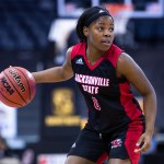 Junior guard Taylor Hawks dribbling the ball down the court. (Courtesy of JSU)