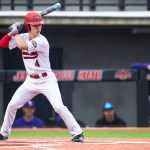 Redshirt sophomore Nash Adams up to bat in a 2019 matchup where Jacksonville State earned a decisive 14-1 win over in-state rival North Alabama on Opening Day of the 2019 season. (Courtesy of JSU)