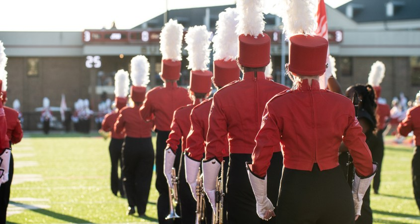 The Marching Southerners perform on Sept. 21, 2019 during JSU's matchup against the University of North Alabama. (Abigail Read/JSU)