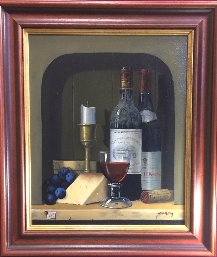SOLD: Peter Kotka – Still life of bottles of wine