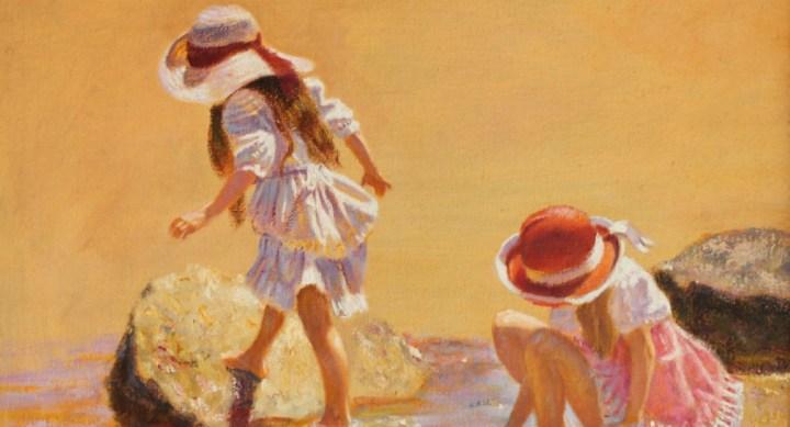Two girls playing in rock pools – Rene Jerome Legrand