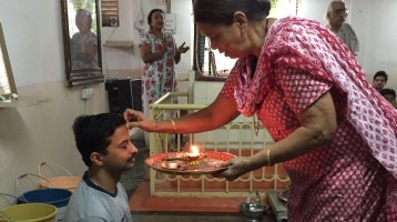 Indian traditional birthday celebration at Janardan Swami Yogabhyasi Mandal