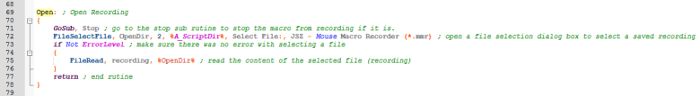 Mouse macro recorder open routine