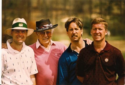Augusta National, Masters Practice Round 1994. Jim Dufrane, Bill Dufrane Sr., William Dufrane & Steve Dufrane. The ticket for a Monday practice round was $15.00, still have the unused pass stickers. — with Lynn Herold Dufrane, Bill Dufrane Sr., William Dufrane and Steve Dufrane.