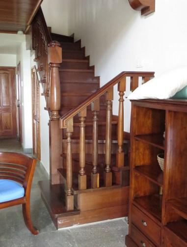 Stairway to balcony bedroom