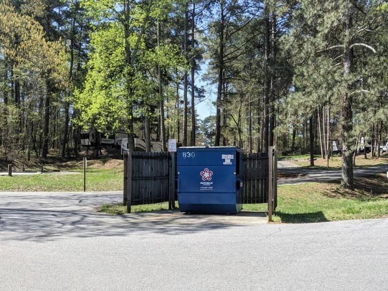 Sawnee campground dumpster