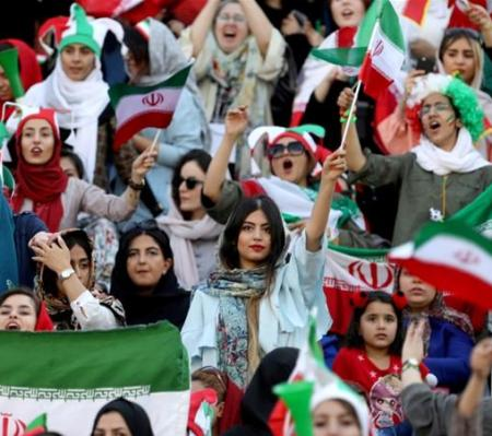 Iranian Women Watching Football Match in Azadi Football Stadium Tehran