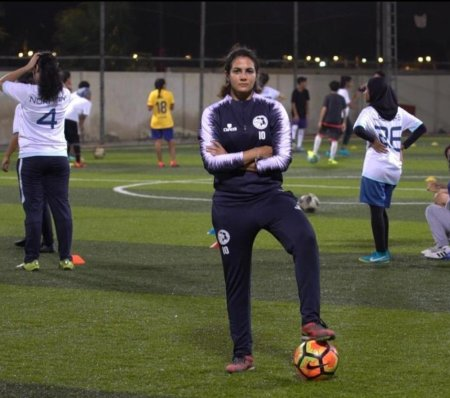 Sham Al Ghamdi First Saudi Woman Football Referee at a Stadium in Riadh.