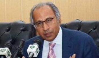 Hafeez Shaikh Finance Adviser to Prime Minister Pakistan talking with media at Islamabad