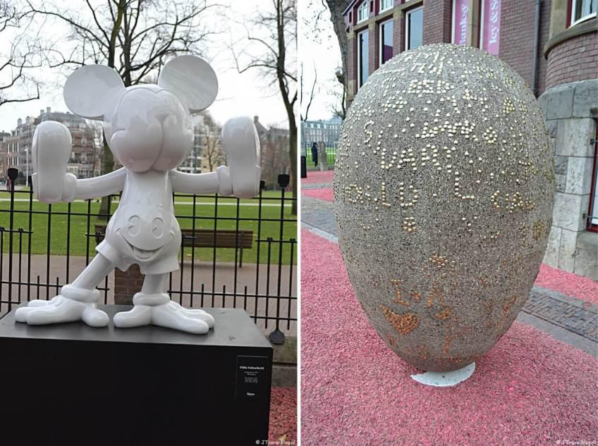 Buiten: 'Freaky Mouse' (2017) van Fidia Falaschetti en 'Portrait' van Marcel Wanders