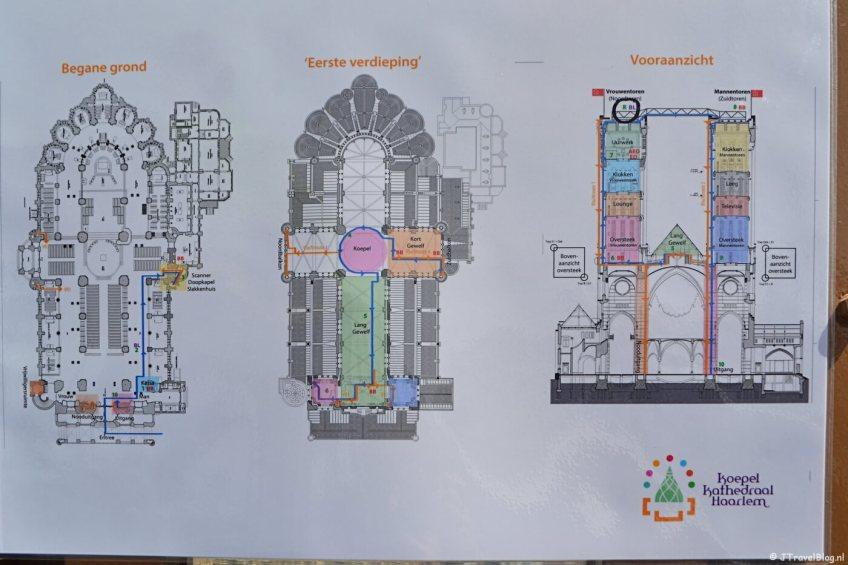 Plattegrond van de ruimtes die je tegenkomt tijdens het beklimmen van de torens van de KoepelKathedraal in Haarlem