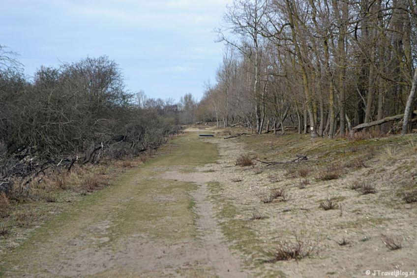 Het graspad langs het Van der Vlietkanaal tijdens de bunkerroute in de Amsterdamse Waterleidingduinen