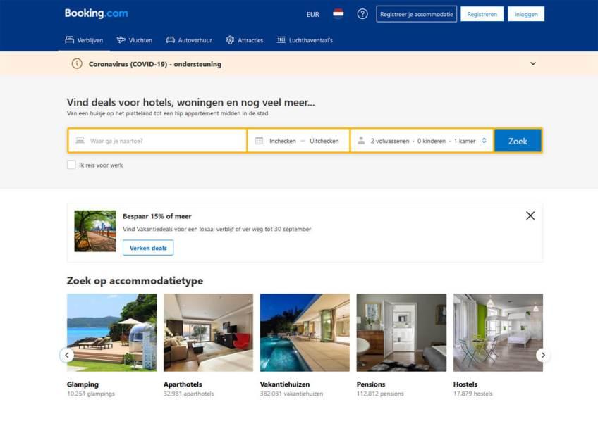 De website van Booking.com