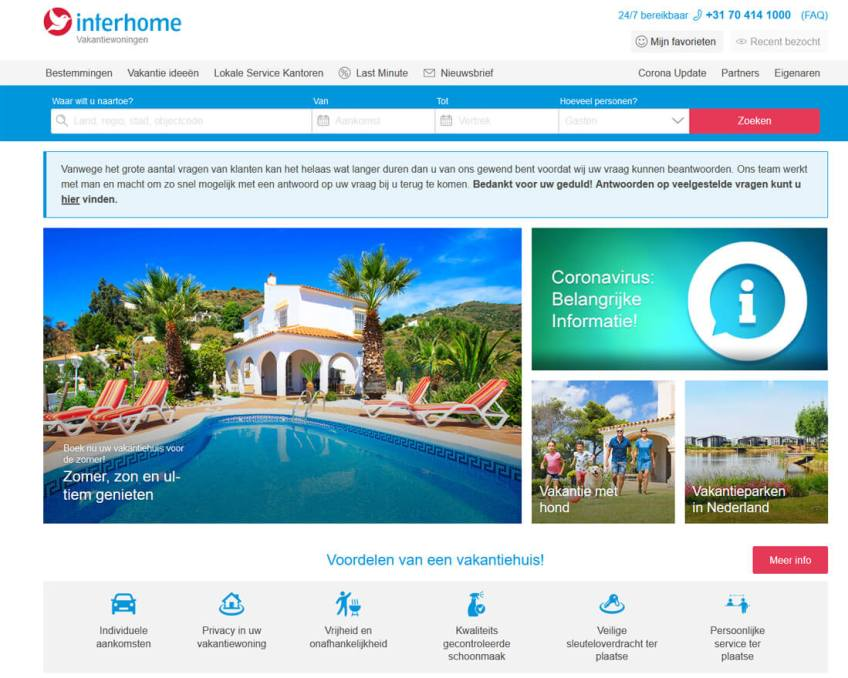 De website van Interhome om vakantiehuizen te huren