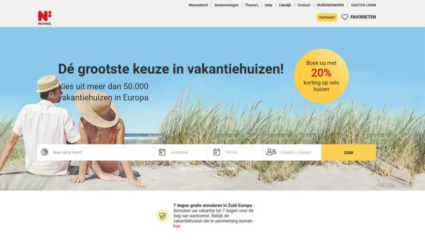 De website van Novasol om een vakantiehuis te huren