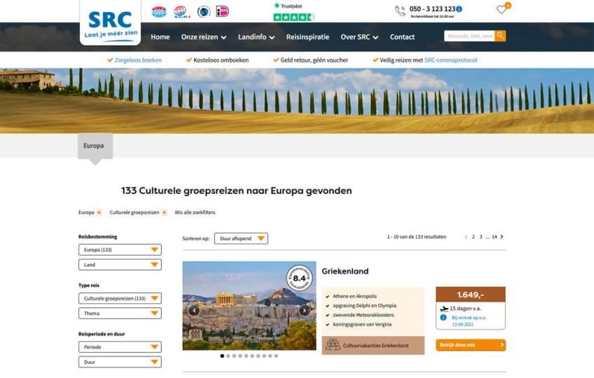De website van SRC Reizen voor het boeken van groepsrondreizen binnen Europa
