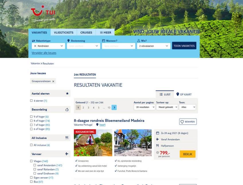 De website van TUI voor het boeken van groepsrondreizen binnen Europa