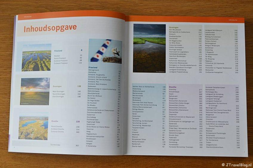 De inhoudsopgave van het boek 'De mooiste fotolocaties van Noord-Nederland'