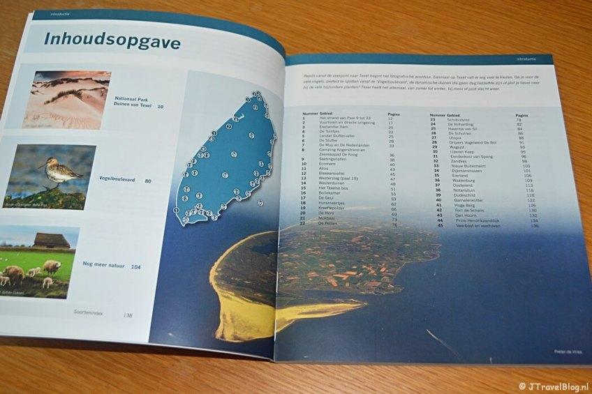 De inhoudsopgave van het boek 'De mooiste fotolocaties van Texel'