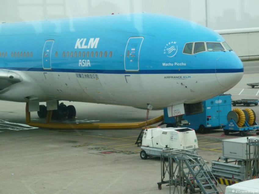 Het vliegtuig van KLM naar Kaapstad