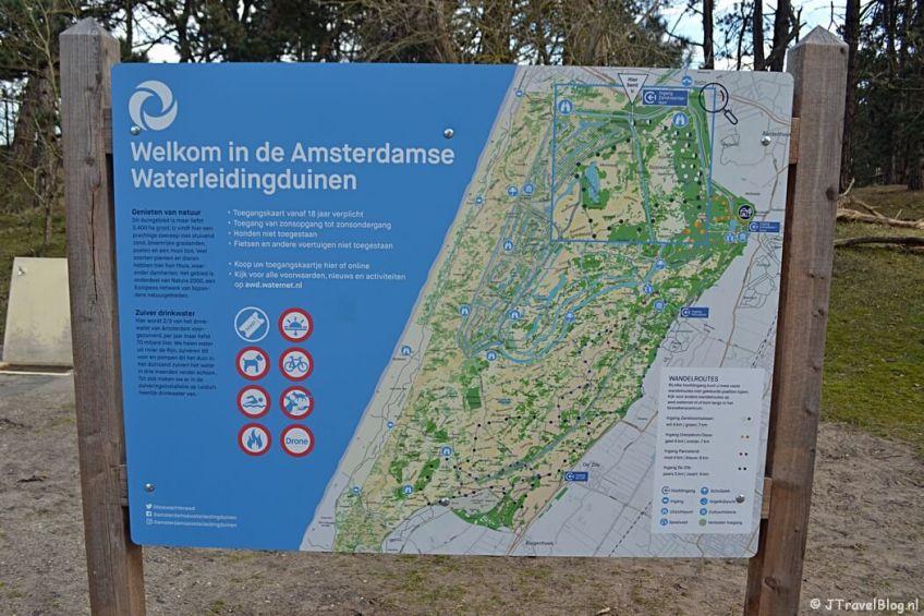 De kaart bij ingang Zandvoortselaan tijdens de bunkerroute in de Amsterdamse Waterleidingduinen