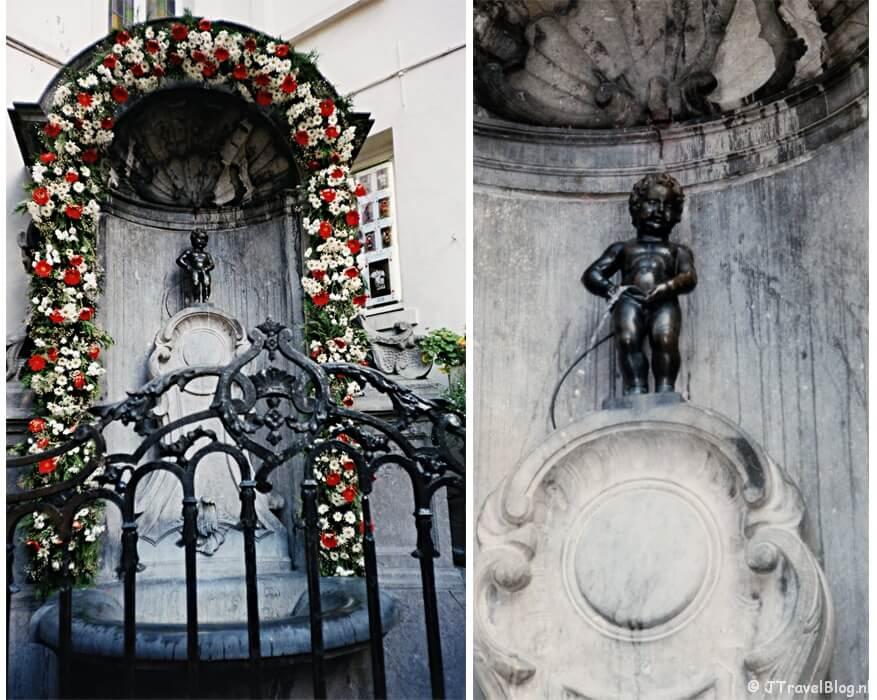 Twee inscande foto's: Manneken Pis in Brussel