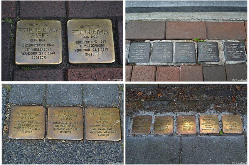 Stolpersteine/Struikelstenen in Hilversum tijdens de 6e etappe van het Westerborkpad