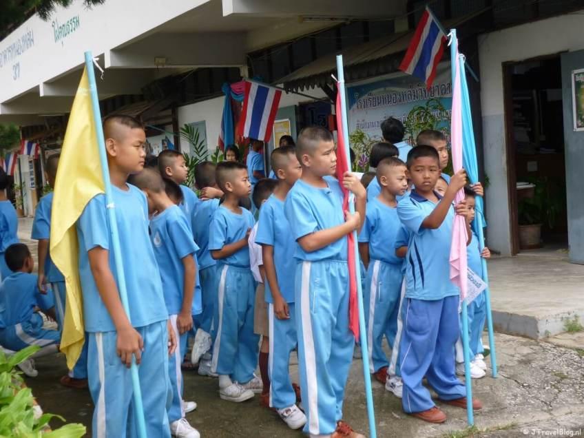 Kinderen van een school bij Chiang Mai