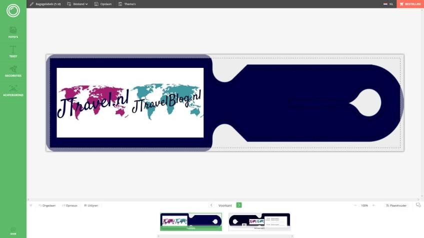 De voorkant van mijn ontwerp van de kofferlabel van Fotofabriek.nl