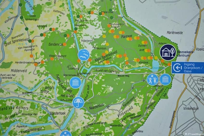 De wandelroutes vanaf ingang Oase in de Amsterdamse Waterleidingduinen