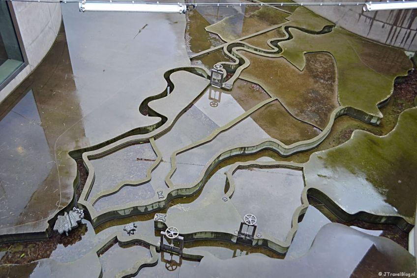 De openluchtmaquette van het Waterliniemuseum bij Fort bij Vechten in Bunnik