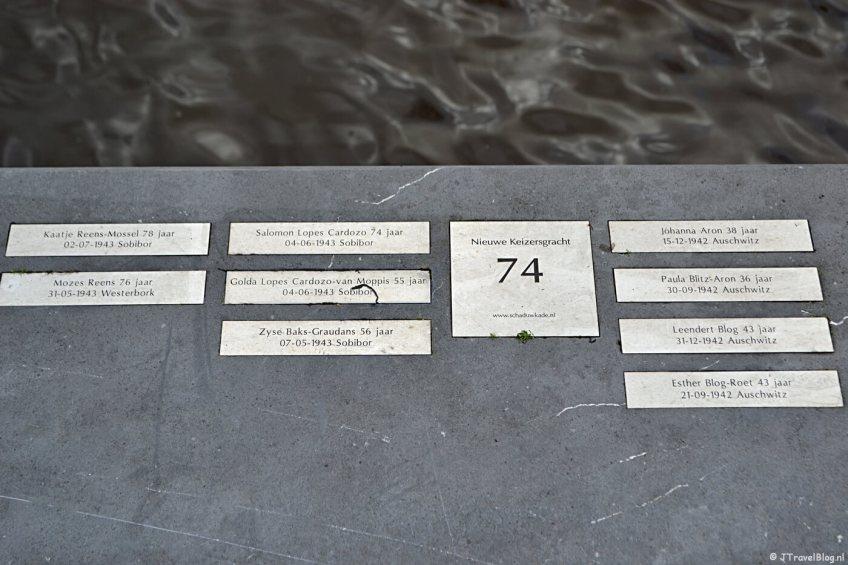 De namen van vermoorde bewoners van de Nieuwe Keizersgracht in Amsterdam