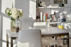 Table and bookshelves