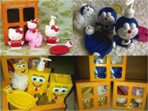Bathroom set Karakter terdiri dari : Lotion Dispenser (tempat sabun cair) Toothbrush Holder (tempat sikat gigi) Soap Holder (tempat sabun batang) Bathing Ball (penggosok badan busa sabun cair) Motif : Spongebob, Doraemon, Hello Kity uk: 19 x 9 x 23