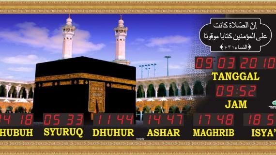 Jual jam jadwal sholat digital masjid murah di tambun selatan