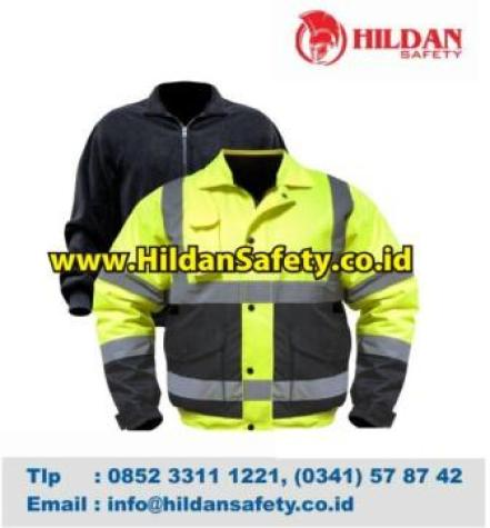 JS.006, Jaket Safety Hijau dan Hitam Scotlight Silver