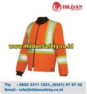 JS.009, Jaket Safety Orange Scotlight Silver Garis Hijau