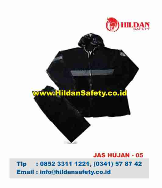 RC.005, Rain Coat Safety Hitam Garis Silver